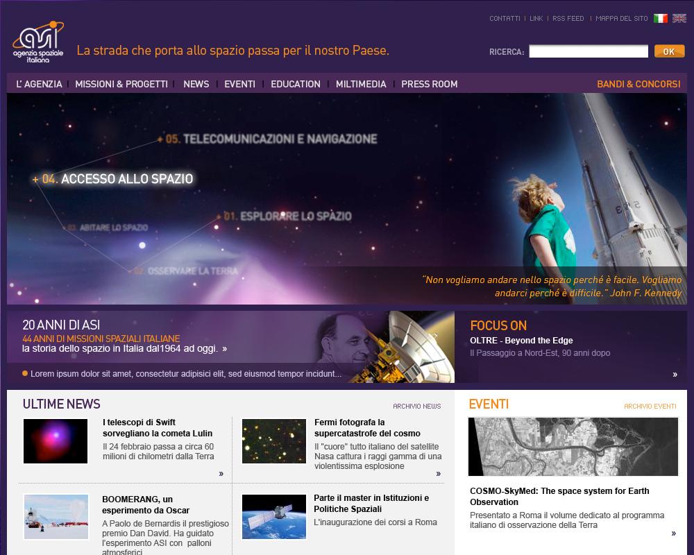 ASI, Agenzia Spaziale Italiana – nuovo sito