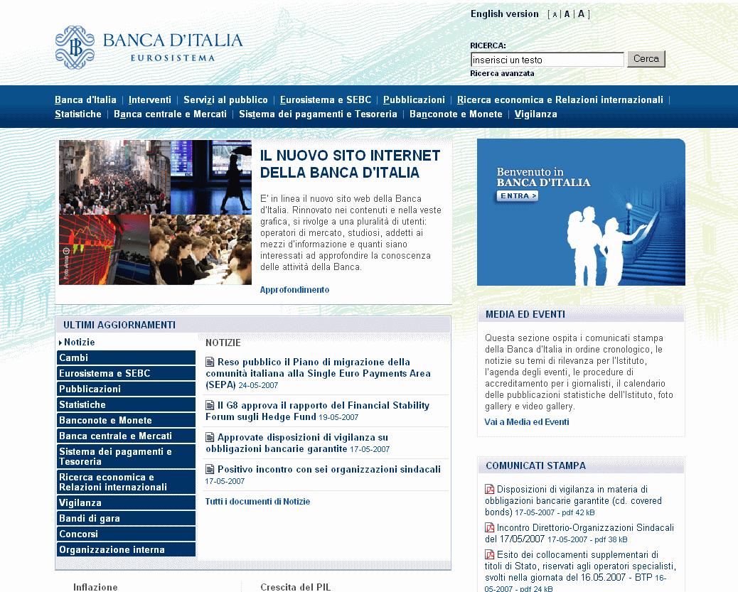Banca d'Italia – nuovo sito web
