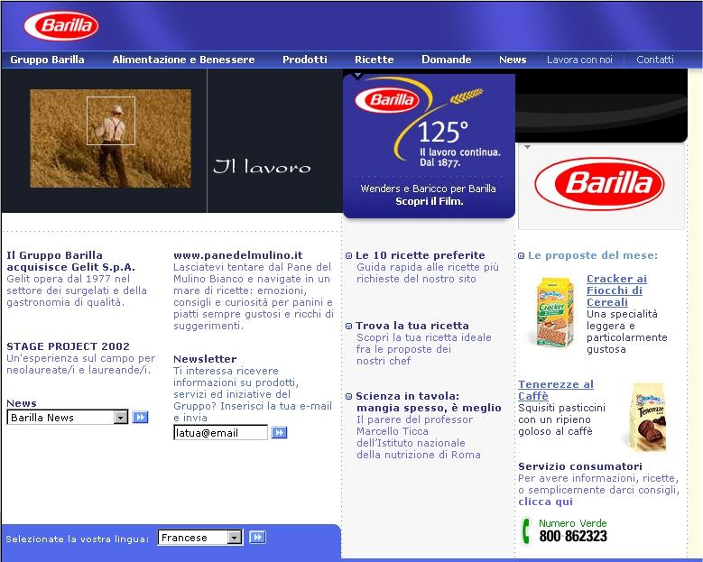 Barilla – nuovo sito e catalogo ricette