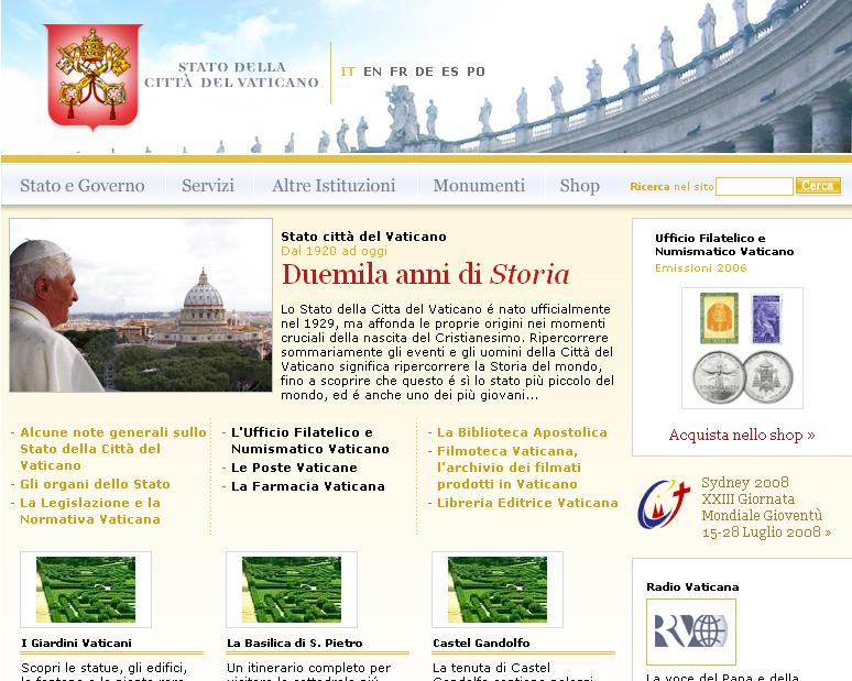 Stato Città del Vaticano – nuovo sito
