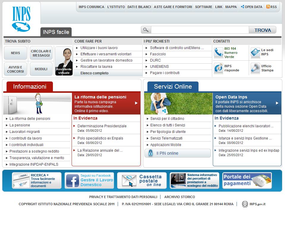 INPS – Consulenza e Strategia nuovo sito