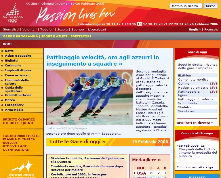 Torino 2006 XX Olimpiadi invernali – Sito ufficiale