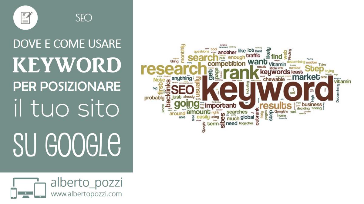 Dove e come usare keyword per posizionare il tuo sito su google - SEO - Alberto Pozzi