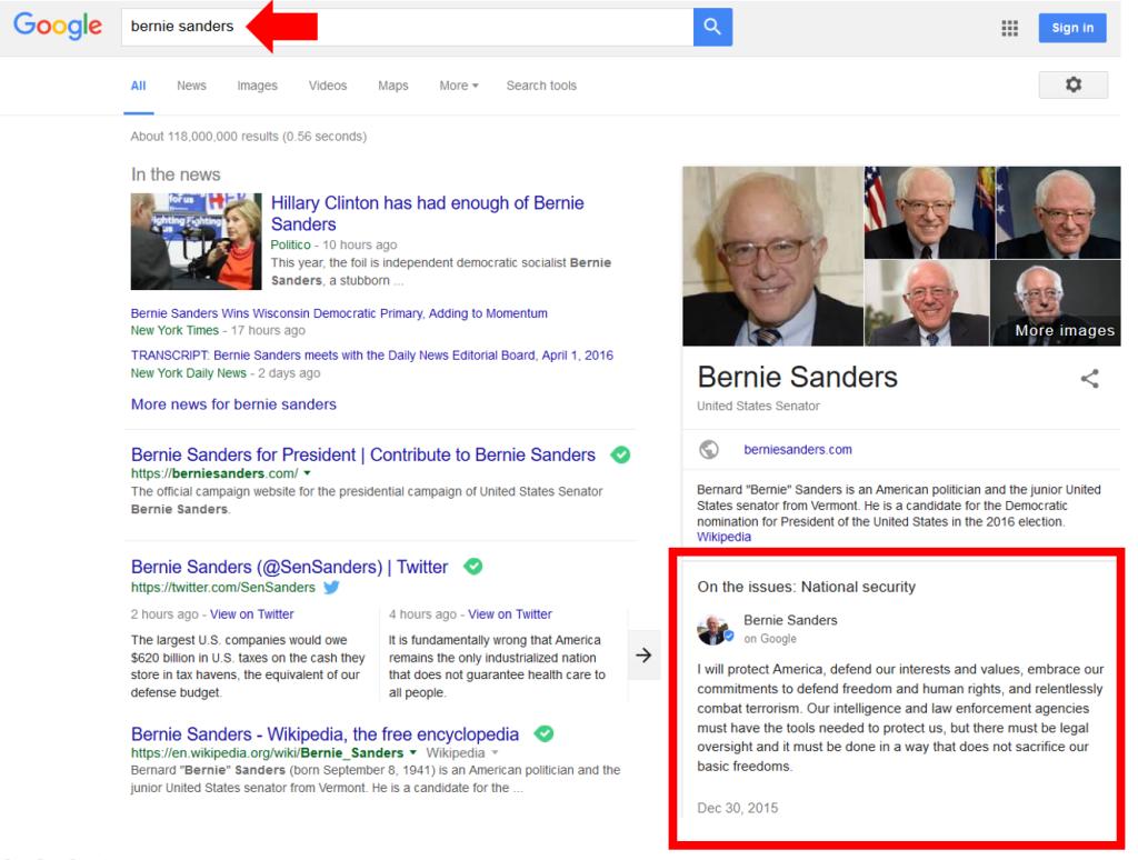 Google Posts - an example - Bernie Sanders - alberto pozzi