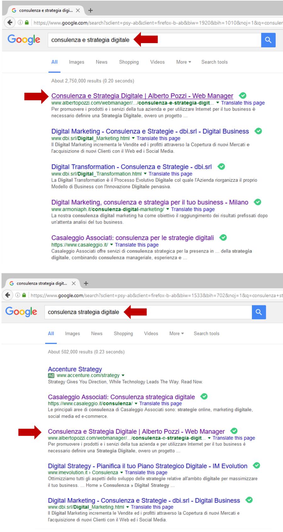 Query google Consulenza Strategia Digitale - Alberto Pozzi