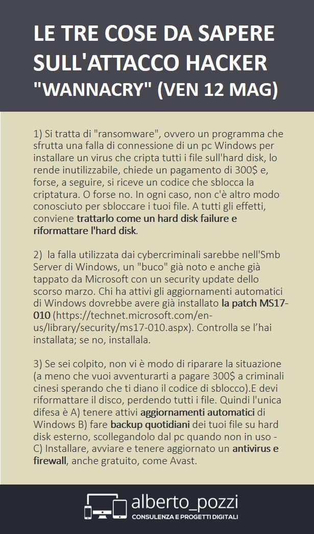 """Le 3 cose da sapere sull'attacco hacker """"wannacry"""""""