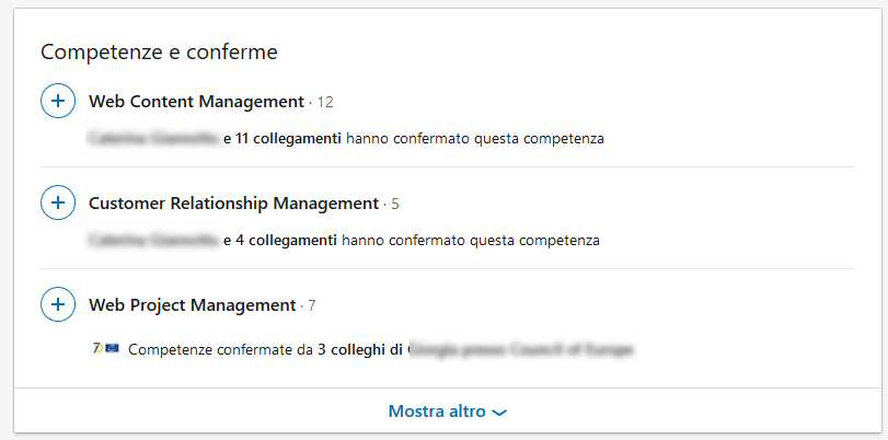 Linkedin competenze conferme