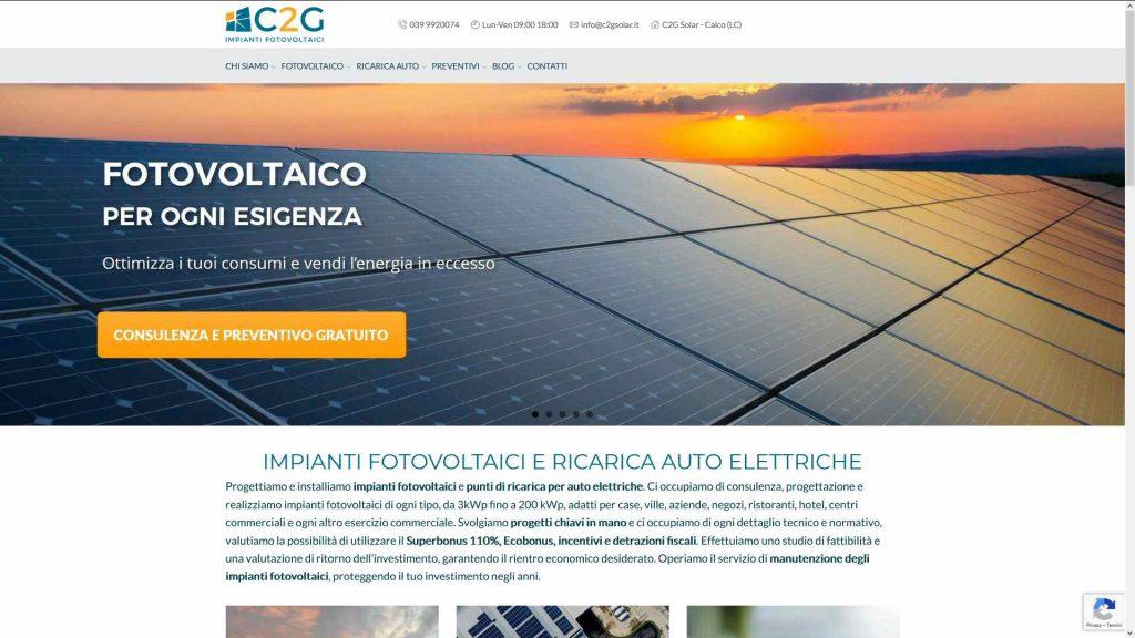 C2G Solar: strategia digitale, contenuti, nuovo sito, SEO